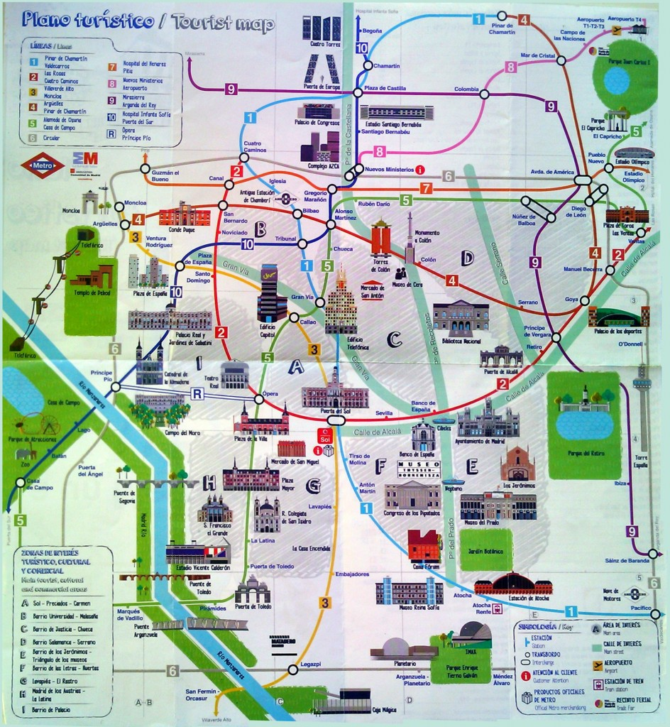 Atlas Map Of Things To Do In Madrid Spain – Madrid Tourist Attractions Map